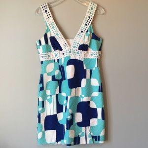 *Trina Turk | Lace Detail Purple & Blue Dress | 8